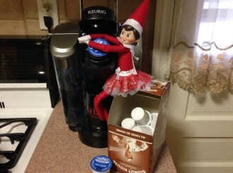Day 14: We found Kira the Elf having some hot chocolate since the cold weather is coming