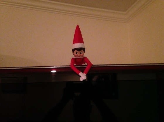 Day 19: We found Kira the Elf peeking over the top of the TV in the living room