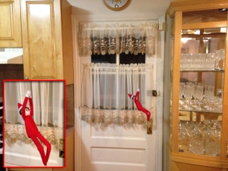 Day 3: We found Kira the Elf zip-lining from the cabinets to the china closet