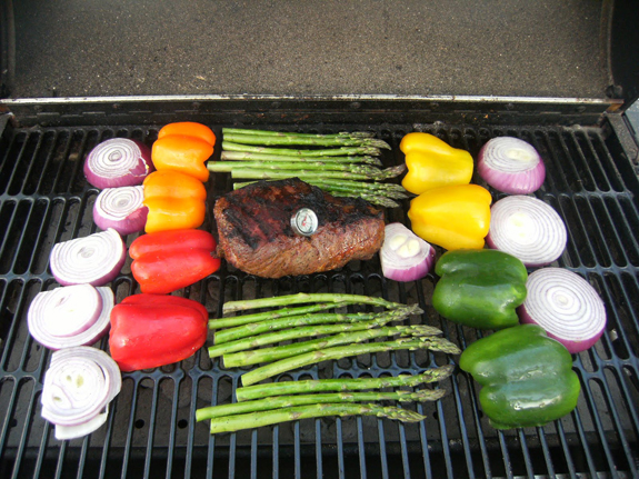 Grilled Tri-Tip with Peppers & Onions sandwich