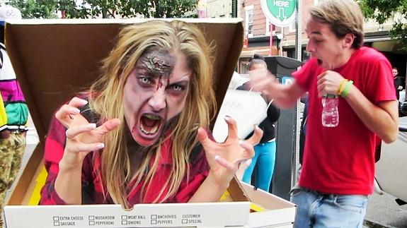 Candid Camera, free pizza, prank, prank vs prank, Viral Videos, zombie pizza prank, zombie prank