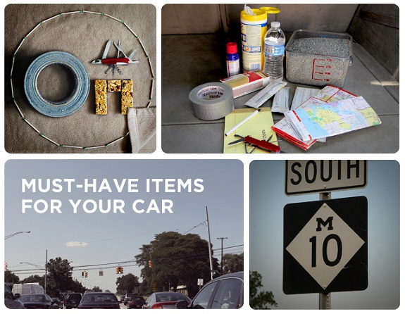 Cars, emergency triangle, fire starter, first aid kit, flashlight, GPS, jumper cables, Must Have Items, seat belt cutter, spare tire, tools
