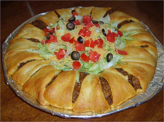bar food, Food, football, Recipes, Super Bowl, taco, Taco Ring, yummy