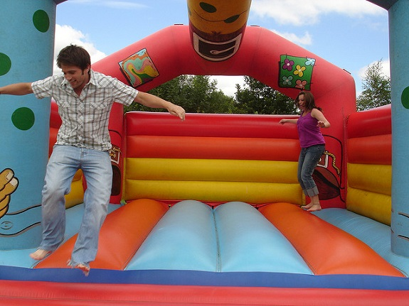 kids, outdoors, bouncy castle, camping, yard, beach