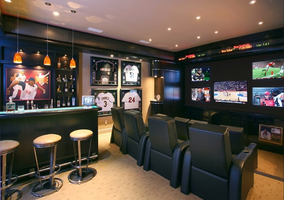 man cave, furniture, tv, guys, games, lighting