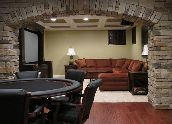 man cave, TV, poker table, recliner chair, bar, mini fridge